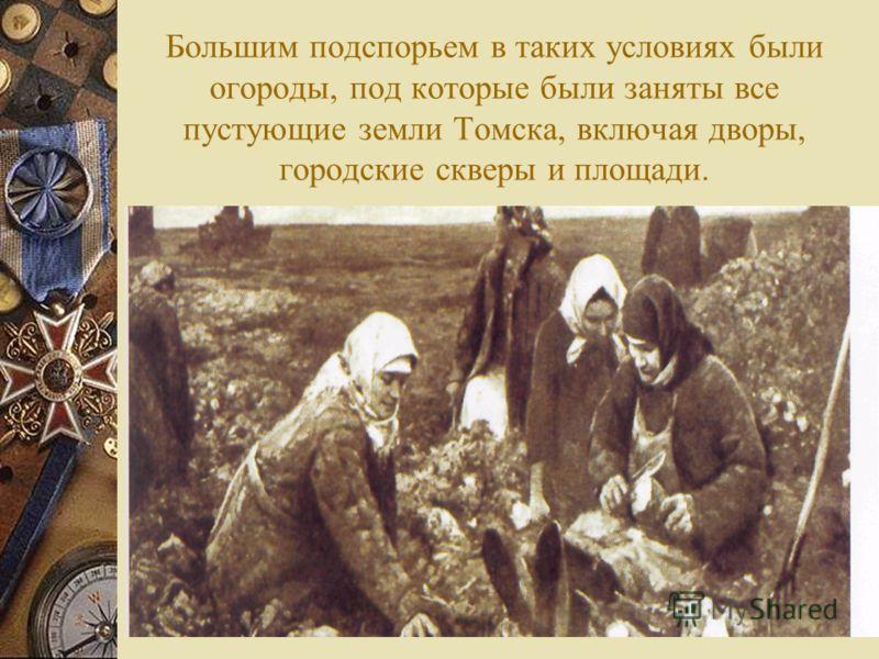 Большим подспорьем в таких условиях были огороды, под которые были заняты все пустующие земли Томска, включая дворы, городские скверы и площади.