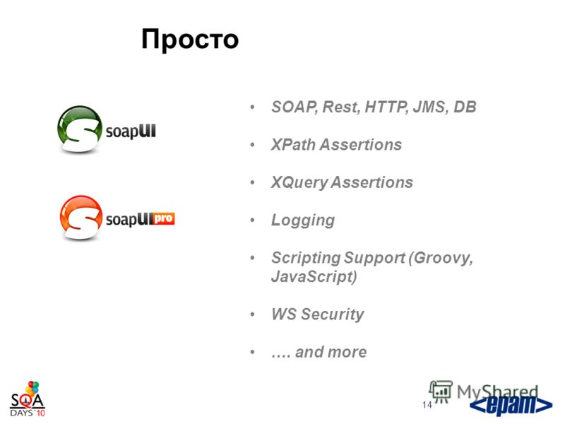 Просто 14 SOAP, Rest, HTTP, JMS, DB XPath Assertions XQuery Assertions Logging Scripting Support (Groovy, JavaScript) WS Security …. and more