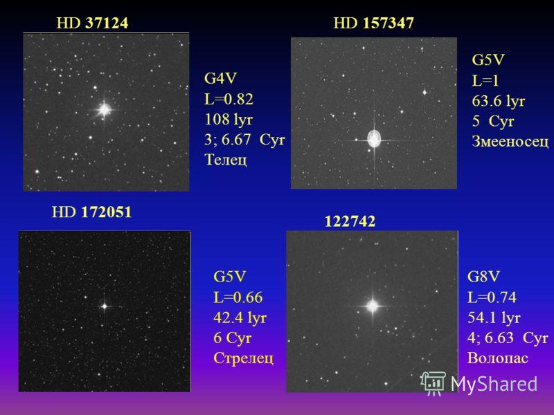 G5V L=0.66 42.4 lyr 6 Cyr Стрелец HD 172051 HD 37124 G4V L=0.82 108 lyr 3; 6.67 Cyr Телец G5V L=1 63.6 lyr 5 Cyr Змееносец HD 157347 G8V L=0.74 54.1 lyr 4; 6.63 Cyr Волопас 122742