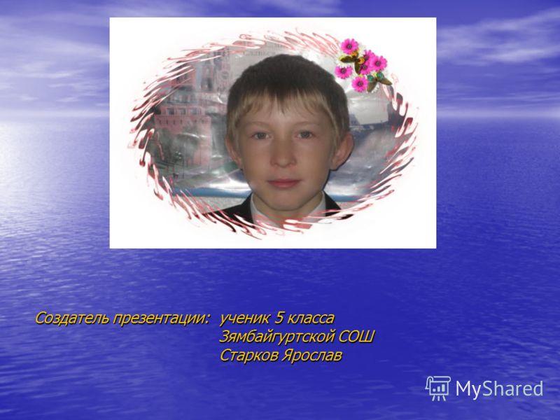 Создатель презентации: ученик 5 класса Зямбайгуртской СОШ Старков Ярослав