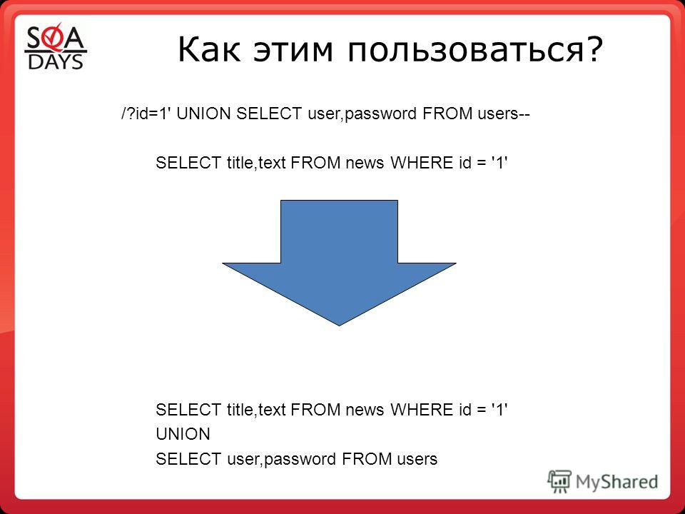 Как этим пользоваться? /?id=1' UNION SELECT user,password FROM users-- SELECT title,text FROM news WHERE id = '1' UNION SELECT user,password FROM users