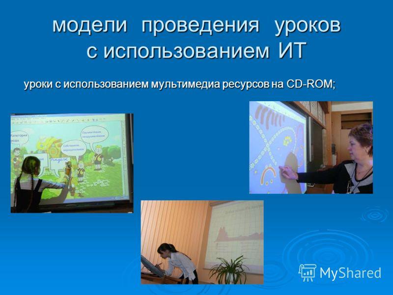 модели проведения уроков с использованием ИТ уроки с использованием мультимедиа ресурсов на CD-ROM;