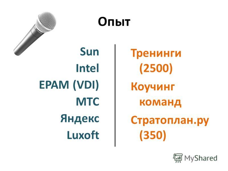 Опыт Sun Intel EPAM (VDI) МТС Яндекс Luxoft Тренинги (2500) Коучинг команд Стратоплан.ру (350)