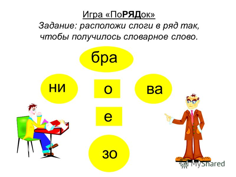 ли ци квака я фи Игра «ПоРЯДок» Задание: расположи слоги в ряд так, чтобы получилось словарное слово.
