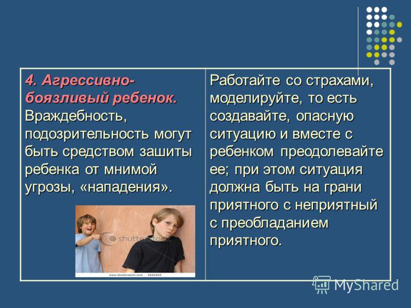 4. Агрессивно- боязливый ребенок. Враждебность, подозрительность могут быть средством зашиты ребенка от мнимой угрозы, «нападения». Работайте со страхами, моделируйте, то есть создавайте, опасную ситуацию и вместе с ребенком преодолевайте ее; при это