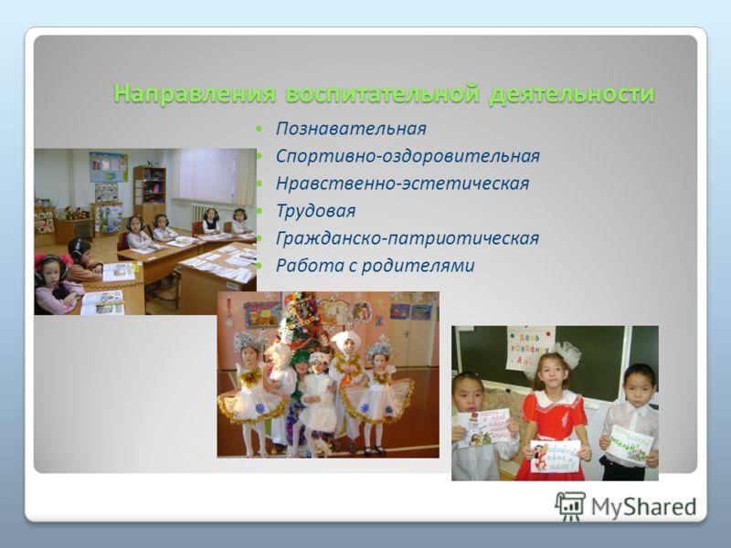 Направления воспитательной деятельности Познавательная Спортивно-оздоровительная Нравственно-эстетическая Трудовая Гражданско-патриотическая Работа с родителями