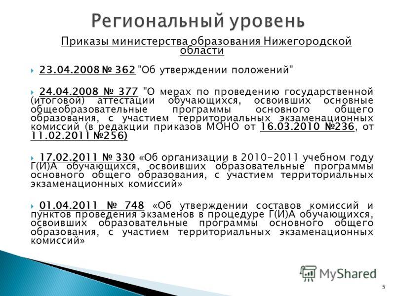 Приказы министерства образования Нижегородской области 23.04.2008 362