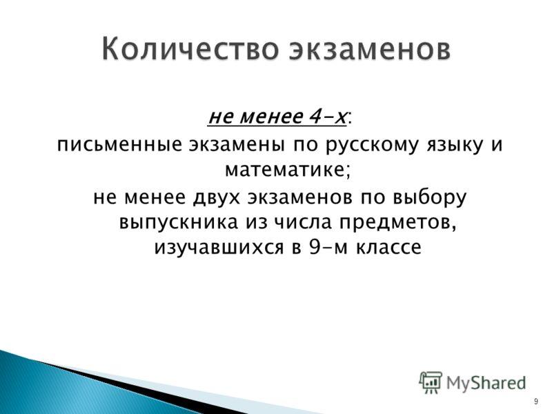 не менее 4-х: письменные экзамены по русскому языку и математике; не менее двух экзаменов по выбору выпускника из числа предметов, изучавшихся в 9-м классе 9