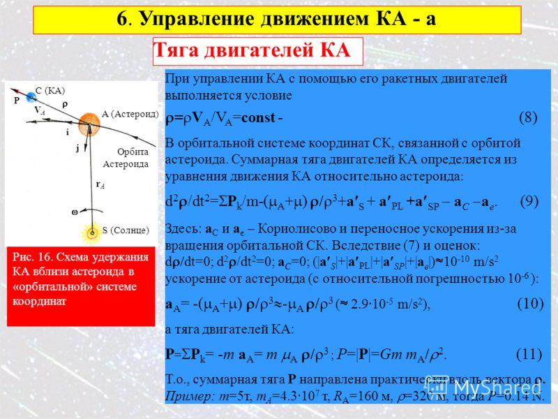 19 6. Управление движением КА - a Рис. 16. Схема удержания КА вблизи астероида в «орбитальной» системе координат S (Солнце) C (КА) i rArA A (Астероид ) VAVA Орбита Астероида j P Тяга двигателей КА При управлении КА с помощью его ракетных двигателей в