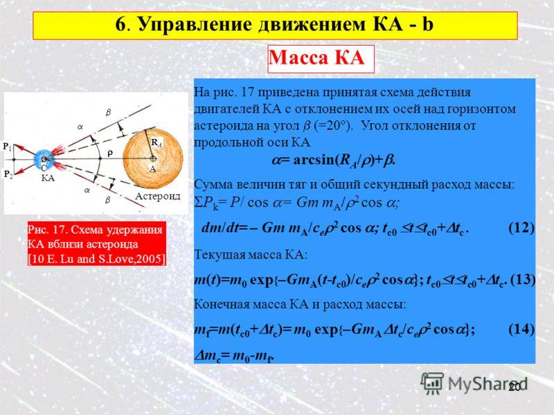 20 6. Управление движением КА - b P1P1 P2P2 RARA Астероид КА A C Масса КА Рис. 17. Схема удержания КА вблизи астероида [10 E. Lu and S.Love,2005] На рис. 17 приведена принятая схема действия двигателей КА с отклонением их осей над горизонтом астероид
