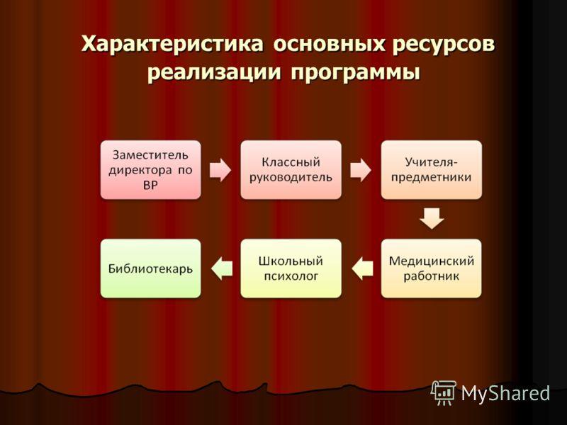 Характеристика основных ресурсов реализации программы Характеристика основных ресурсов реализации программы