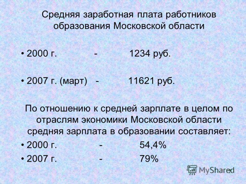 7 Средняя заработная плата работников образования Московской области 2000 г. - 1234 руб. 2007 г. (март) - 11621 руб. По отношению к средней зарплате в целом по отраслям экономики Московской области средняя зарплата в образовании составляет: 2000 г. -