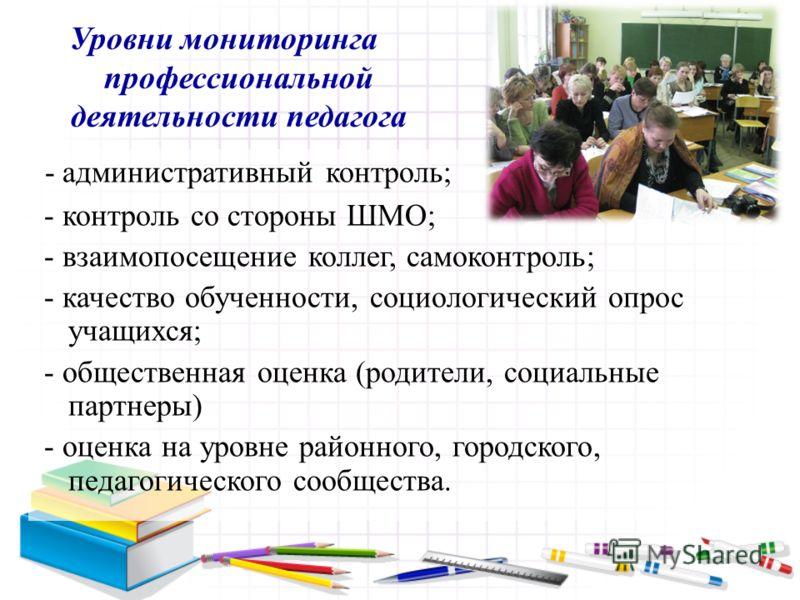 Уровни мониторинга профессиональной деятельности педагога - административный контроль; - контроль со стороны ШМО; - взаимопосещение коллег, самоконтроль; - качество обученности, социологический опрос учащихся; - общественная оценка (родители, социаль