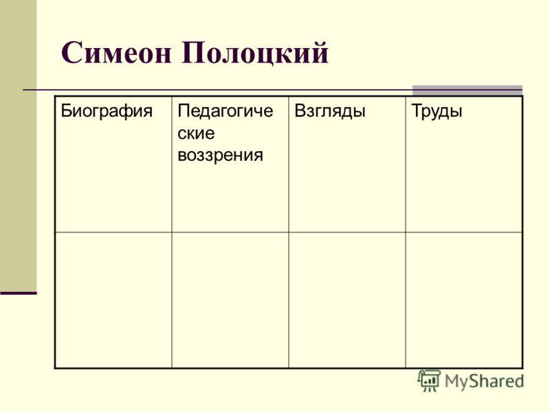Симеон Полоцкий БиографияПедагогиче ские воззрения ВзглядыТруды