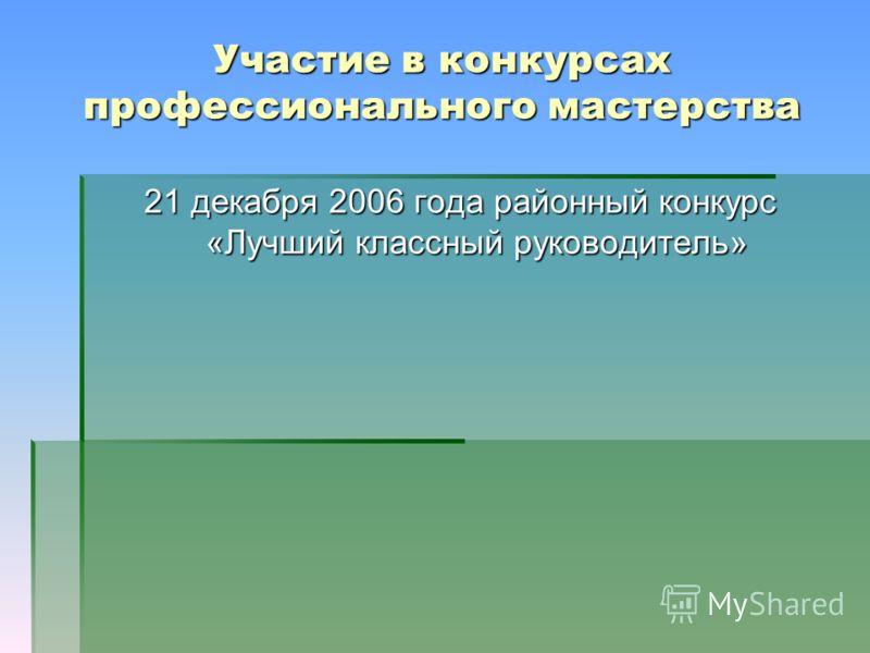 Участие в конкурсах профессионального мастерства 21 декабря 2006 года районный конкурс «Лучший классный руководитель»