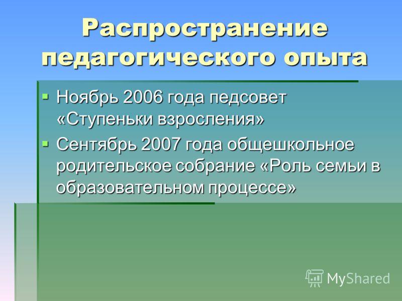 Распространение педагогического опыта Ноябрь 2006 года педсовет «Ступеньки взросления» Ноябрь 2006 года педсовет «Ступеньки взросления» Сентябрь 2007 года общешкольное родительское собрание «Роль семьи в образовательном процессе» Сентябрь 2007 года о