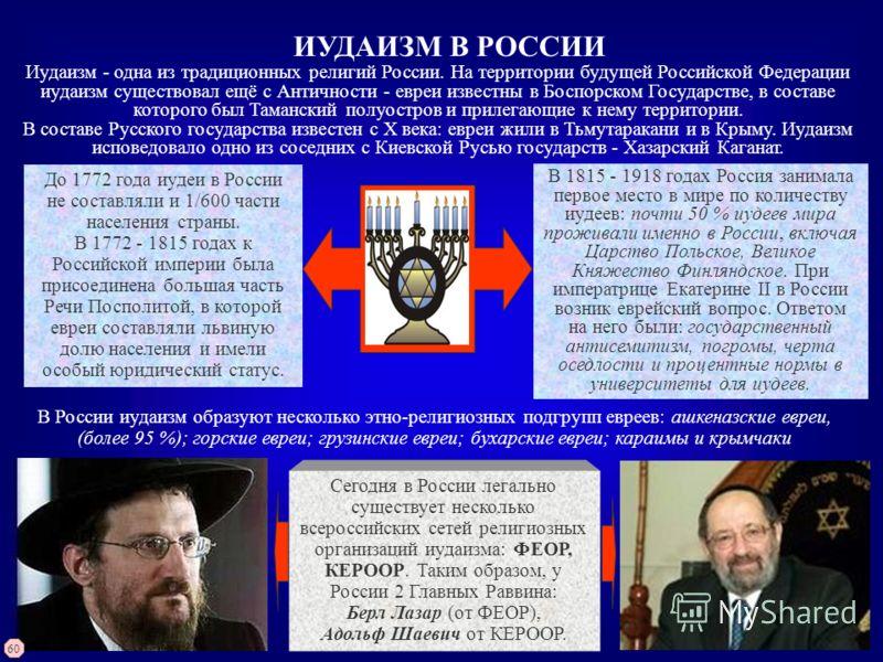 ИУДАИЗМ В РОССИИ Иудаизм - одна из традиционных религий России. На территории будущей Российской Федерации иудаизм существовал ещё с Античности - евреи известны в Боспорском Государстве, в составе которого был Таманский полуостров и прилегающие к нем