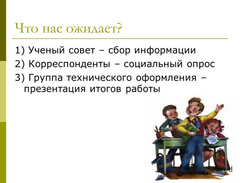 Что нас ожидает? 1) Ученый совет – сбор информации 2) Корреспонденты – социальный опрос 3) Группа технического оформления – презентация итогов работы