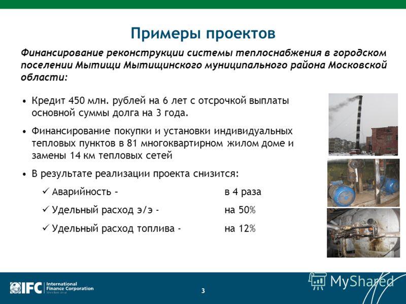 3 Примеры проектов Кредит 450 млн. рублей на 6 лет с отсрочкой выплаты основной суммы долга на 3 года. Финансирование покупки и установки индивидуальных тепловых пунктов в 81 многоквартирном жилом доме и замены 14 км тепловых сетей В результате реали