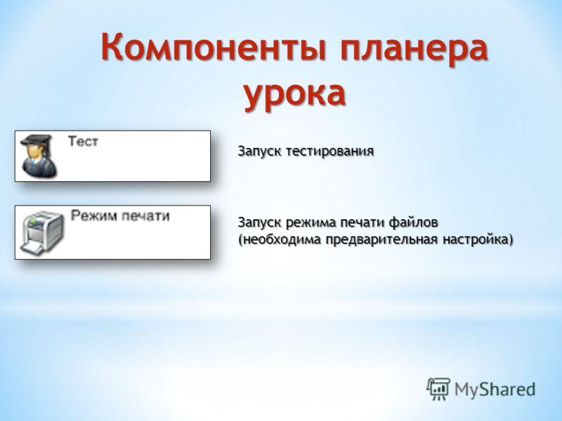 Компоненты планера урока Запуск тестирования Запуск режима печати файлов (необходима предварительная настройка)
