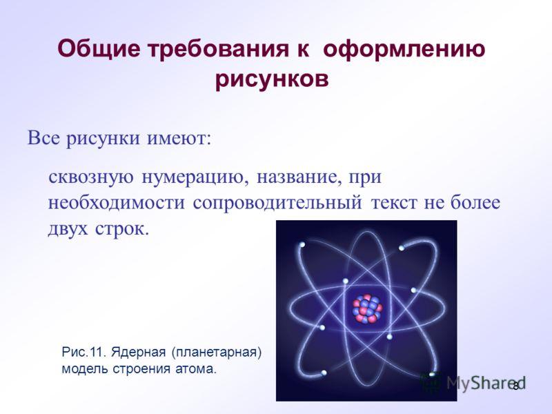 Все рисунки имеют: сквозную нумерацию, название, при необходимости сопроводительный текст не более двух строк. Общие требования к оформлению рисунков Рис.11. Ядерная (планетарная) модель строения атома. 8