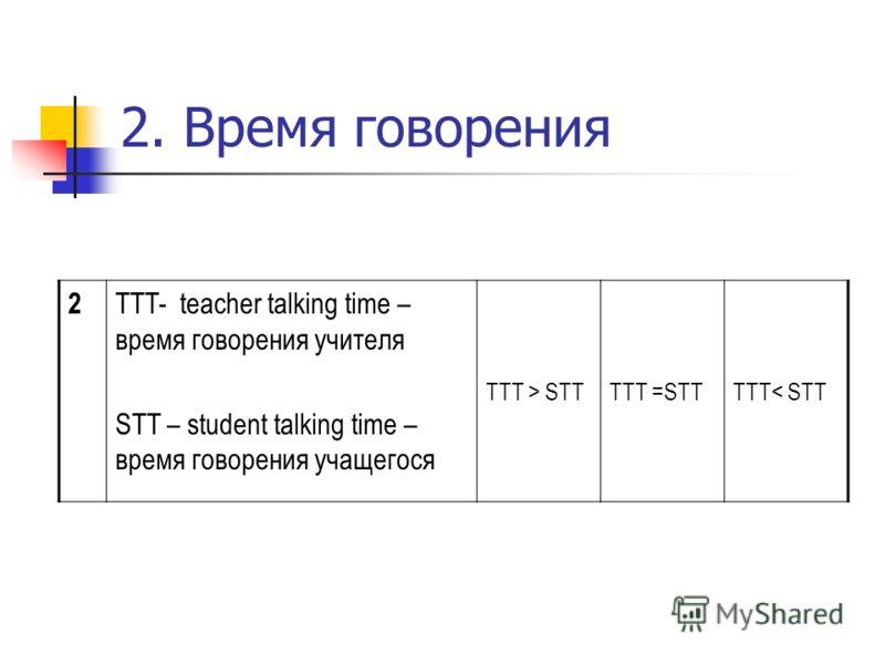 2. Время говорения 2 TTT- teacher talking time – время говорения учителя STT – student talking time – время говорения учащегося TTT > STTTTT =STTTTT< STT