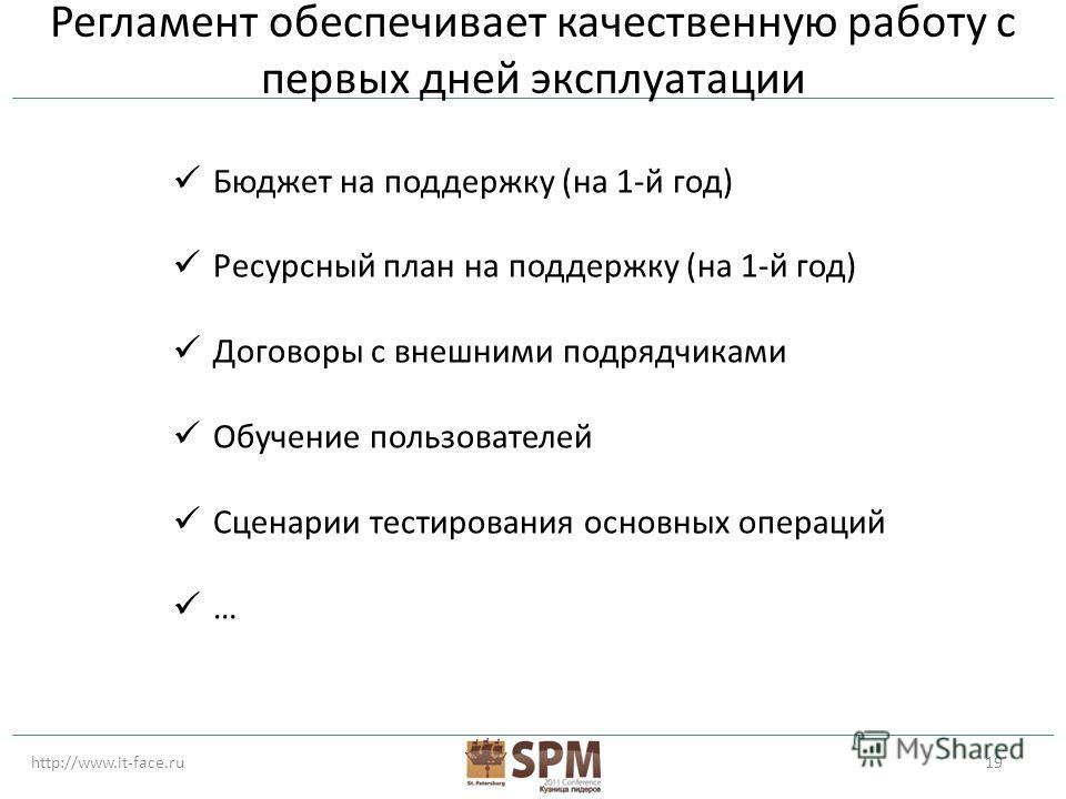 http://www.it-face.ru19 Регламент обеспечивает качественную работу с первых дней эксплуатации Бюджет на поддержку (на 1-й год) Ресурсный план на поддержку (на 1-й год) Договоры с внешними подрядчиками Обучение пользователей Сценарии тестирования осно