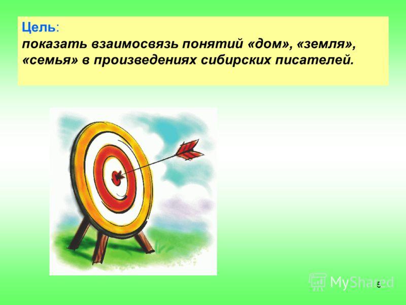 5 Цель: показать взаимосвязь понятий «дом», «земля», «семья» в произведениях сибирских писателей.