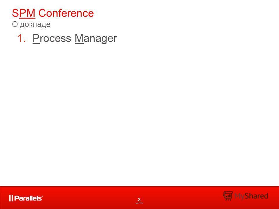 3 SPM Conference О докладе 1.Process Manager