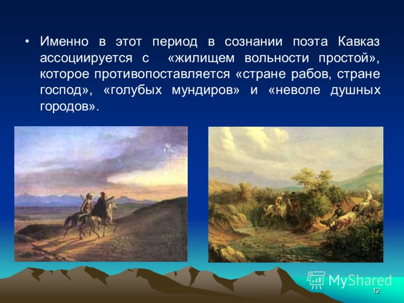 12 Именно в этот период в сознании поэта Кавказ ассоциируется с «жилищем вольности простой», которое противопоставляется «стране рабов, стране господ», «голубых мундиров» и «неволе душных городов».
