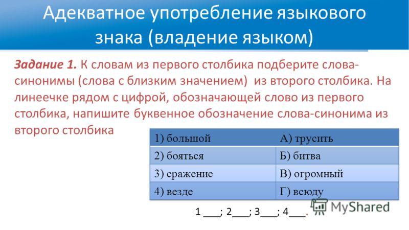 Адекватное употребление языкового знака (владение языком) Задание 1. К словам из первого столбика подберите слова- синонимы (слова с близким значением) из второго столбика. На линеечке рядом с цифрой, обозначающей слово из первого столбика, напишите