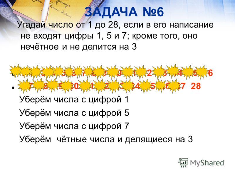 ЗАДАЧА 6 Угадай число от 1 до 28, если в его написание не входят цифры 1, 5 и 7; кроме того, оно нечётное и не делится на 3 1 2 3 4 5 6 7 8 9 10 11 12 13 14 15 16 17 18 19 20 21 22 23 24 25 26 27 28 Уберём числа с цифрой 1 Уберём числа с цифрой 5 Убе