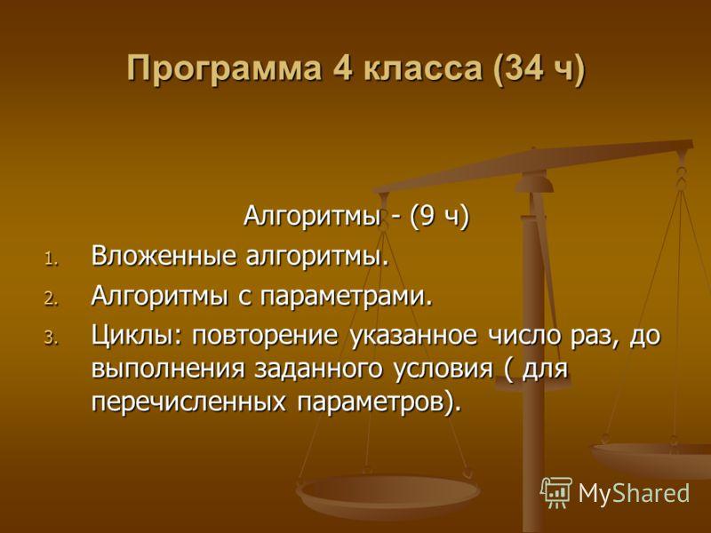 Программа 4 класса (34 ч) Алгоритмы - (9 ч) 1. Вложенные алгоритмы. 2. Алгоритмы с параметрами. 3. Циклы: повторение указанное число раз, до выполнения заданного условия ( для перечисленных параметров).