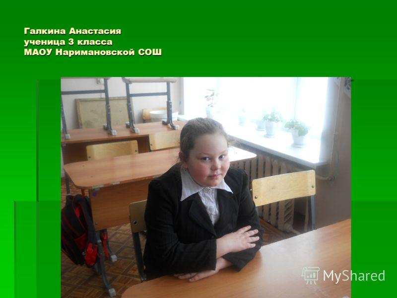 Галкина Анастасия ученица 3 класса МАОУ Наримановской СОШ