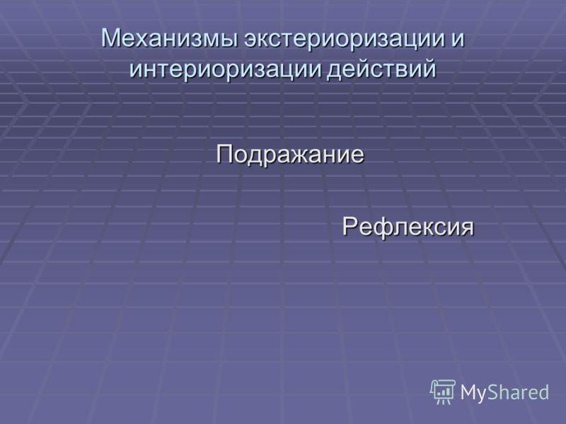 Механизмы экстериоризации и интериоризации действий Подражание Подражание Рефлексия Рефлексия