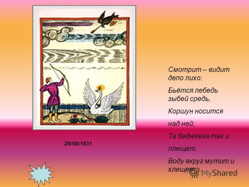 Смотрит – видит дело лихо: Бьётся лебедь зыбей средь, Коршун носится над ней; Та бедняжка так и плещет, Воду вкруг мутит и хлещет… 29/08/1831