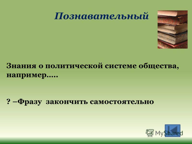 Познавательный Знания о политической системе общества, например….. ? –Фразу закончить самостоятельно