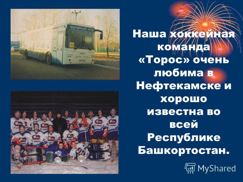 Наша хоккейная команда «Торос» очень любима в Нефтекамске и хорошо известна во всей Республике Башкортостан.