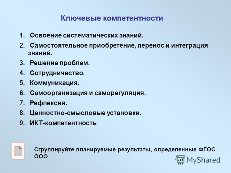 Ключевые компетентности 1. Освоение систематических знаний. 2. Самостоятельное приобретение, перенос и интеграция знаний. 3. Решение проблем. 4. Сотрудничество. 5. Коммуникация. 6. Самоорганизация и саморегуляция. 7. Рефлексия. 8. Ценностно-смысловые