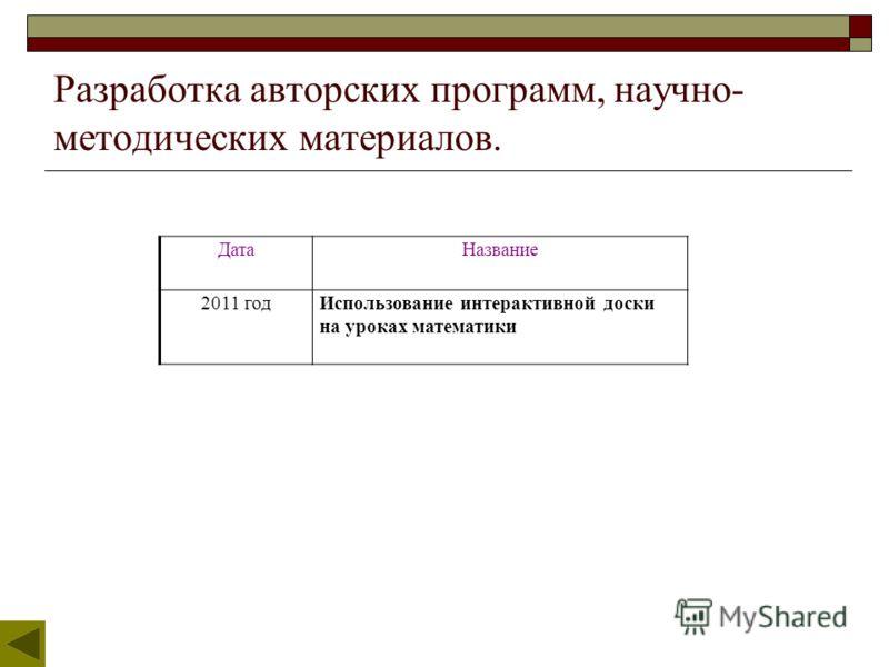 Разработка авторских программ, научно- методических материалов. ДатаНазвание 2011 годИспользование интерактивной доски на уроках математики