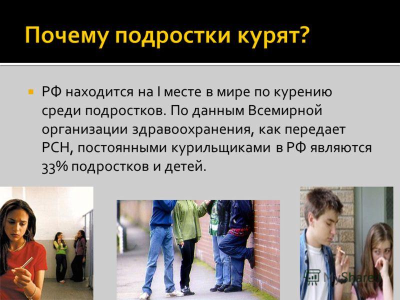 РФ находится на I месте в мире по курению среди подростков. По данным Всемирной организации здравоохранения, как передает РСН, постоянными курильщиками в РФ являются 33% подростков и детей.