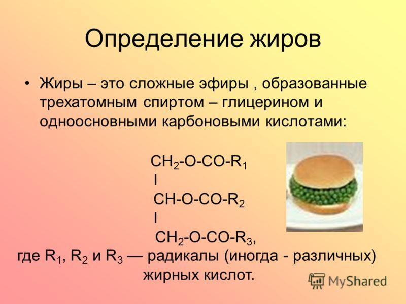 Определение жиров Жиры – это сложные эфиры, образованные трехатомным спиртом – глицерином и одноосновными карбоновыми кислотами: CH 2 -O-CO-R 1 I CH-О-CO-R 2 I CH 2 -O-CO-R 3, где R 1, R 2 и R 3 радикалы (иногда - различных) жирных кислот.