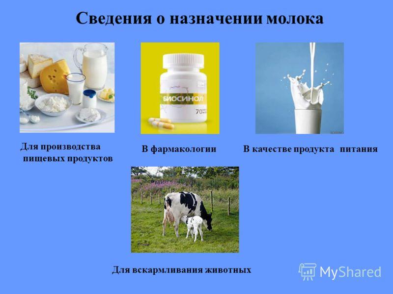 Сведения о назначении молока В качестве продукта питания Для вскармливания животных Для производства пищевых продуктов В фармакологии