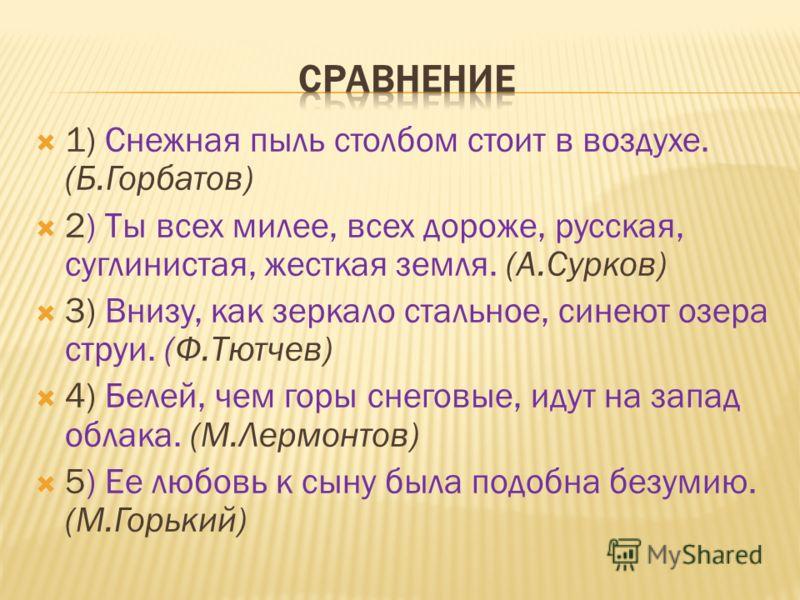 1) Снежная пыль столбом стоит в воздухе. (Б.Горбатов) 2) Ты всех милее, всех дороже, русская, суглинистая, жесткая земля. (А.Сурков) 3) Внизу, как зеркало стальное, синеют озера струи. (Ф.Тютчев) 4) Белей, чем горы снеговые, идут на запад облака. (М.
