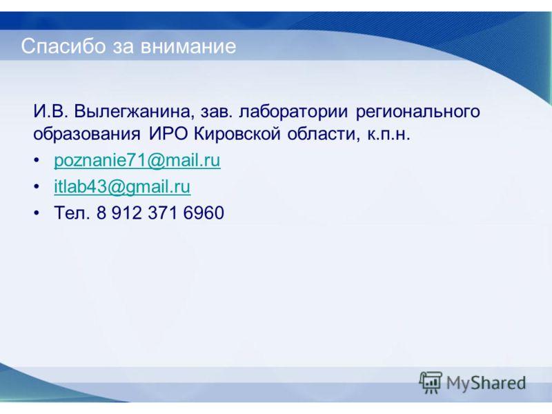 Спасибо за внимание И.В. Вылегжанина, зав. лаборатории регионального образования ИРО Кировской области, к.п.н. poznanie71@mail.ru itlab43@gmail.ru Тел. 8 912 371 6960