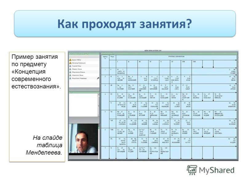 Как проходят занятия? Пример занятия по предмету «Концепция современного естествознания». На слайде таблица Менделеева. Пример занятия по предмету «Концепция современного естествознания». На слайде таблица Менделеева.