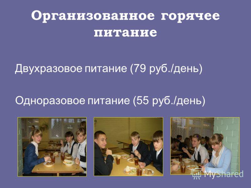 Организованное горячее питание Двухразовое питание (79 руб./день) Одноразовое питание (55 руб./день)
