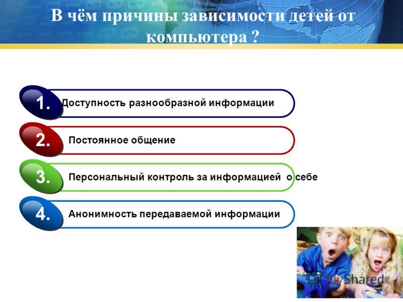 В чём причины зависимости детей от компьютера ? Доступность разнообразной информации 1. Постоянное общение 2. Персональный контроль за информацией о себе 3. Анонимность передаваемой информации 4.