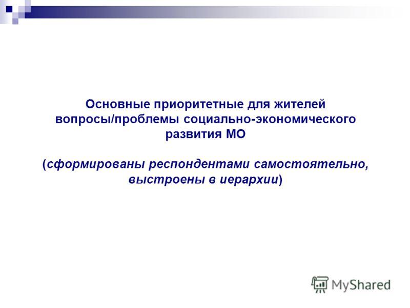 Основные приоритетные для жителей вопросы/проблемы социально-экономического развития МО (сформированы респондентами самостоятельно, выстроены в иерархии)